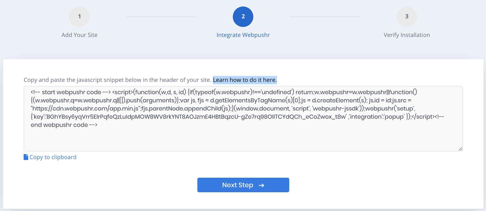 Webpushr Manual Integration